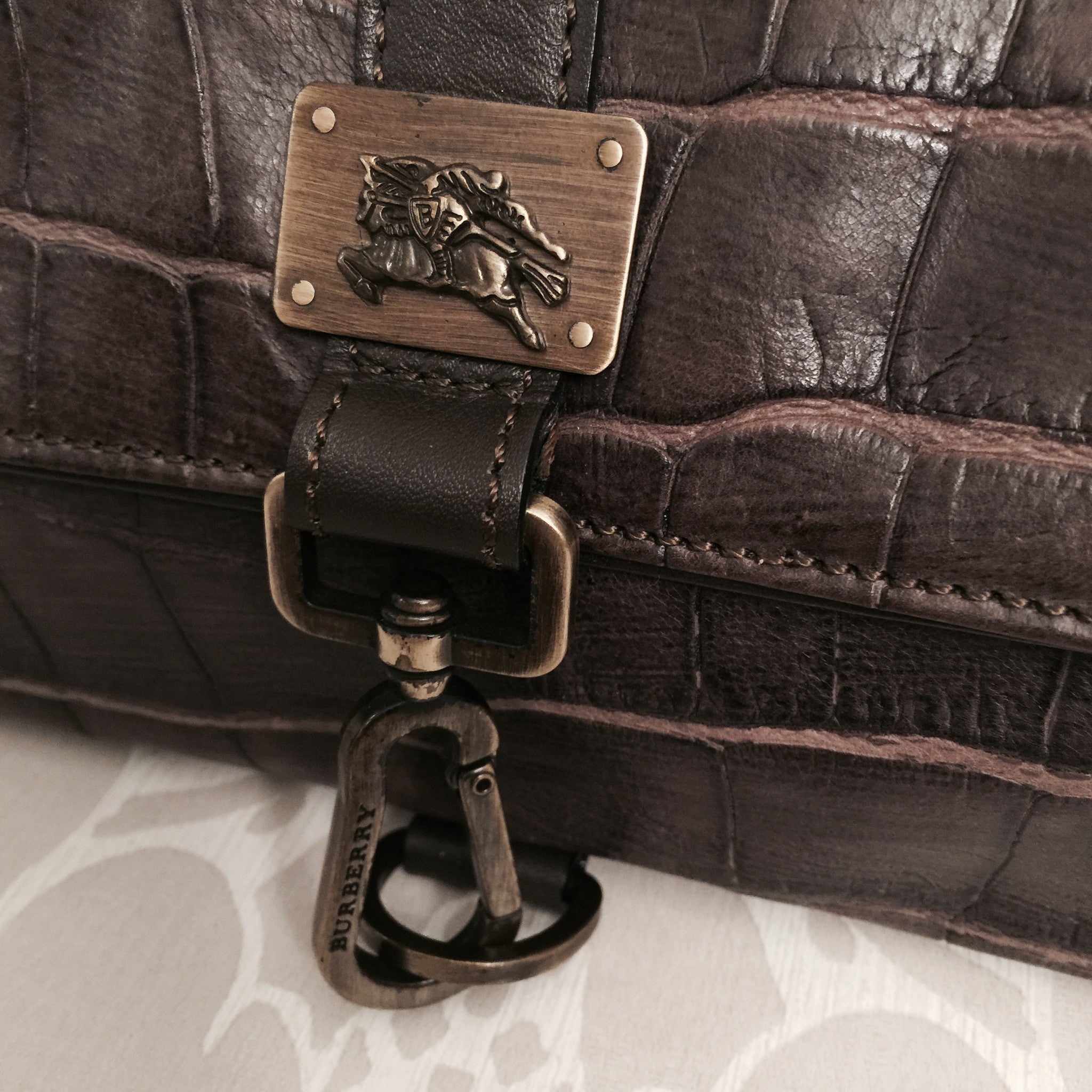 Authentic BURBERRY Crocodile Print Handbag