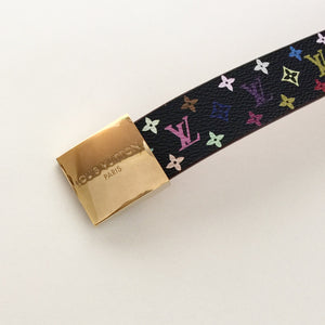 Authentic LOUIS VUITTON Black Multi-colour Belt Saint Tulle