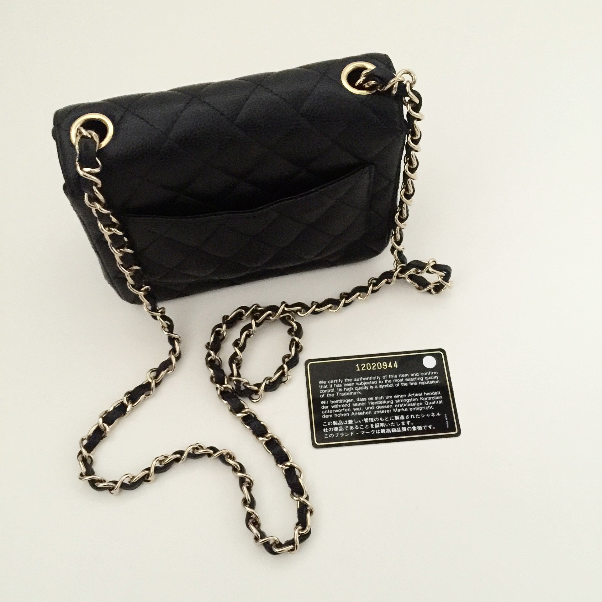 Authentic CHANEL Mini Flap in Caviar Gold