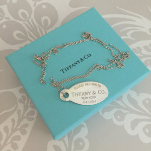 "Authentic TIFFANY & CO Oval Dog Tag Pendant 32"" Chain"