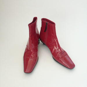 Authentic PRADA Red Patent Boots Size 37