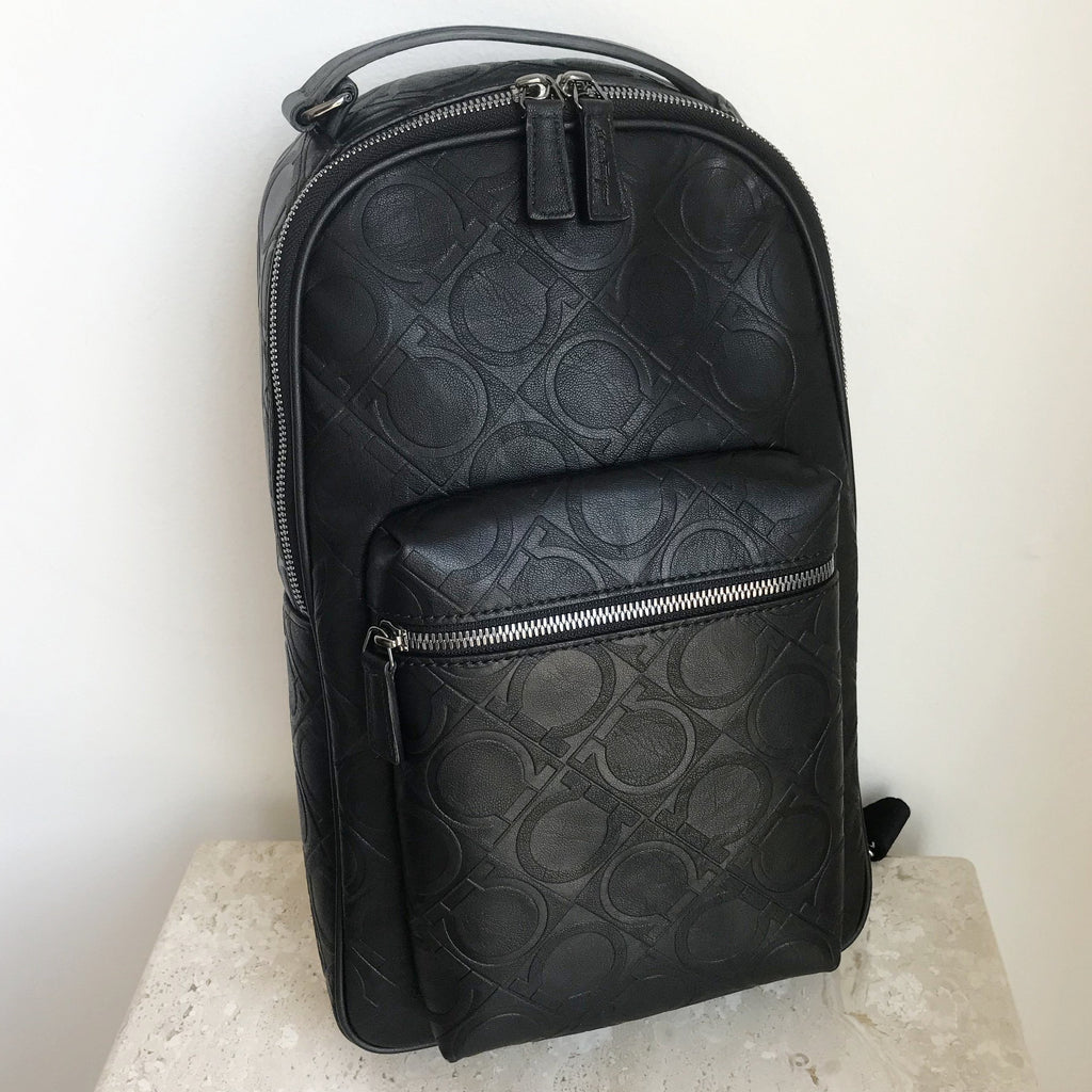 Authentic SALVATORE FERRAGAMO Black Leather Backpack
