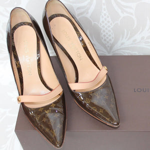 Authentic LOUIS VUITTON Gina Monogram Patent Shoes 35.5