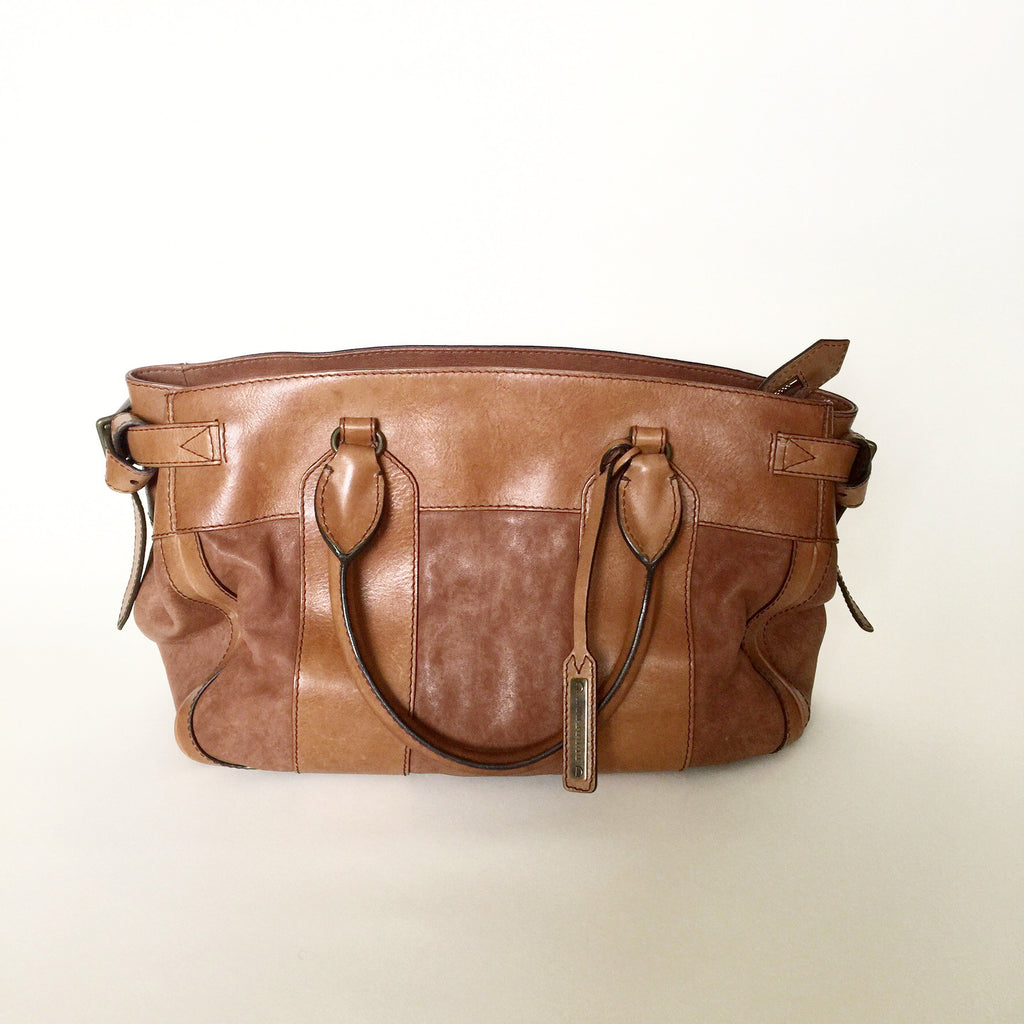 Authentic BURBERRY Large Brown Leather Handbag