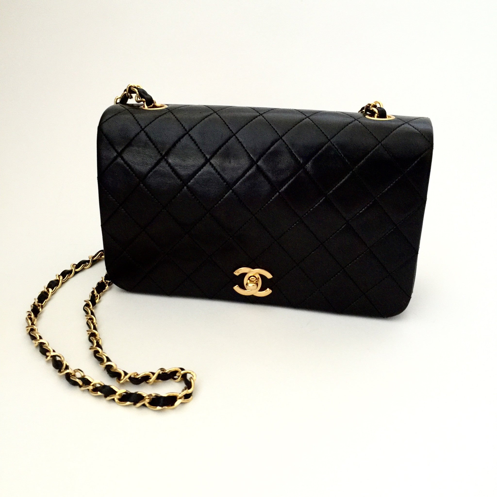 "Authentic CHANEL Vintage 9"" Full Flap Bag"