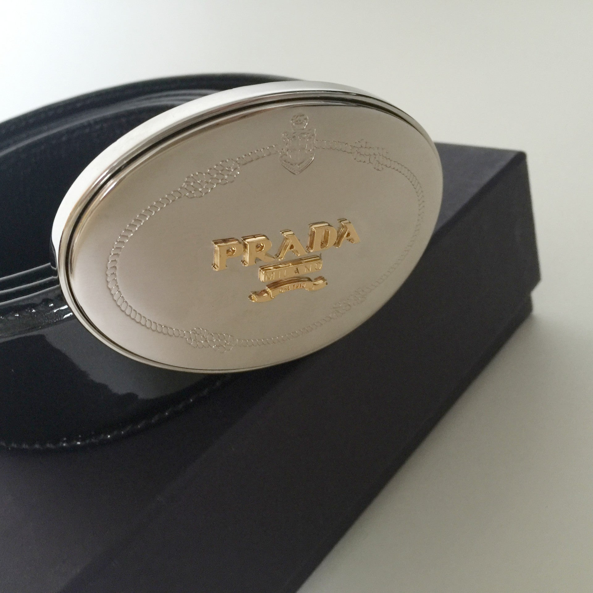 Authentic PRADA Black Patent Belt