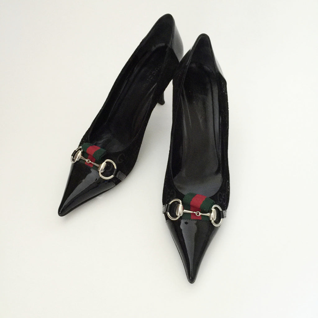 Authentic GUCCI Patent & Suede Kitten Heel 40