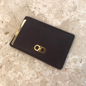 Authentic SALVATORE FERRAGAMO Bordeaux Pebble Calf leather card holder