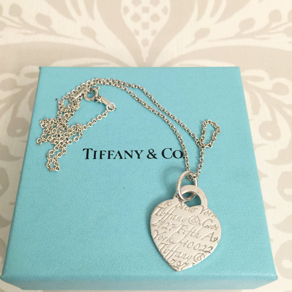 Authentic TIFFANY & CO. Notes Fifth Avenue Heart Necklace