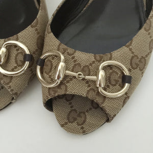 Authentic GUCCI Canvas Horsebit Kitten Heel 40