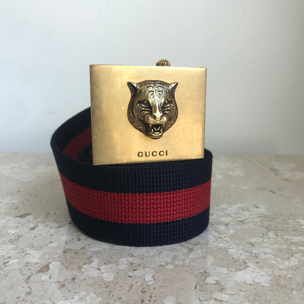 Authentic GUCCI Men's Lion Buckle Web Stripe Belt Size 90/38