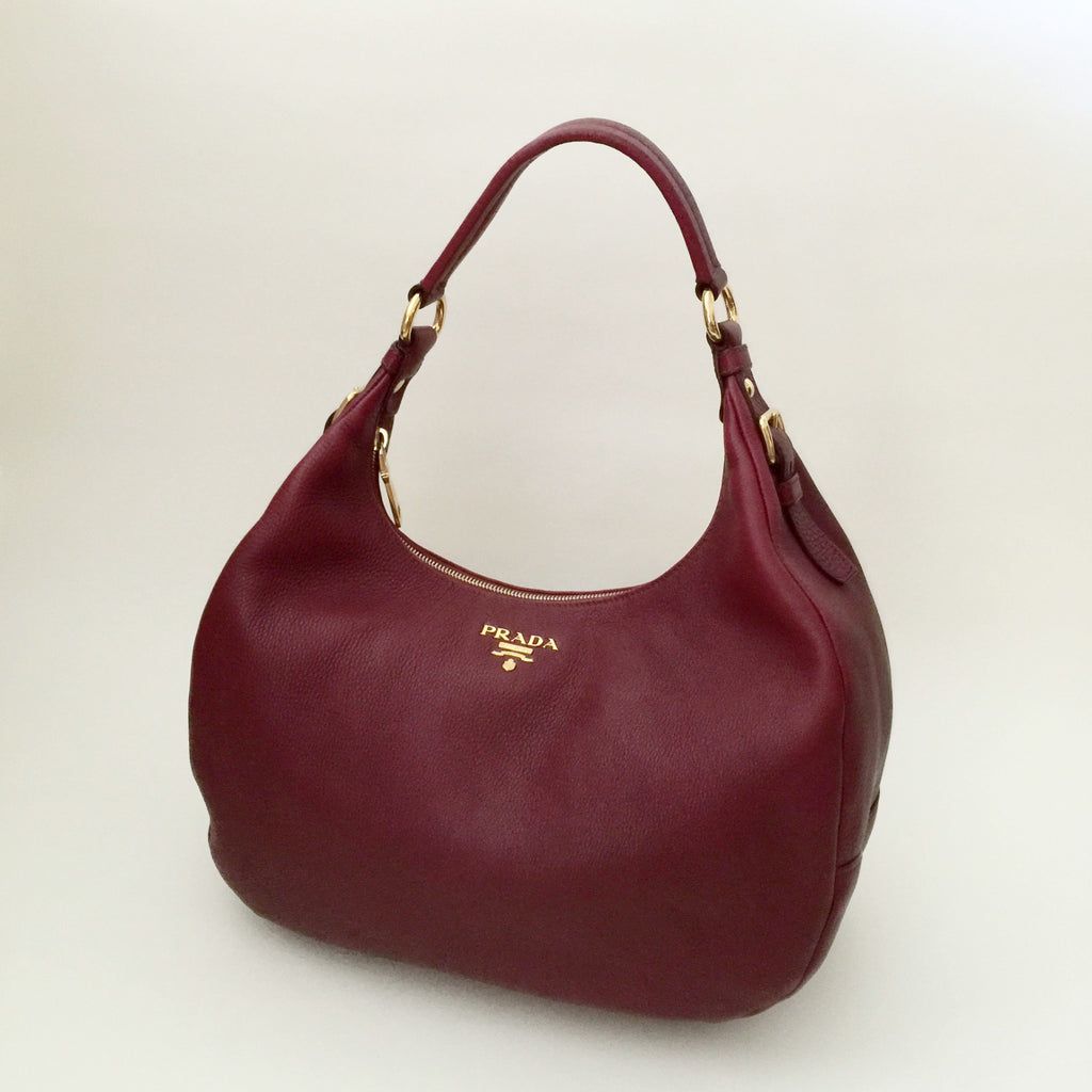 68677615f32a Authentic PRADA Burgundy Leather Hobo