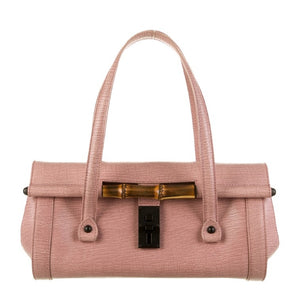 Authentic GUCCI Bamboo Pink Leather Bullet Bag