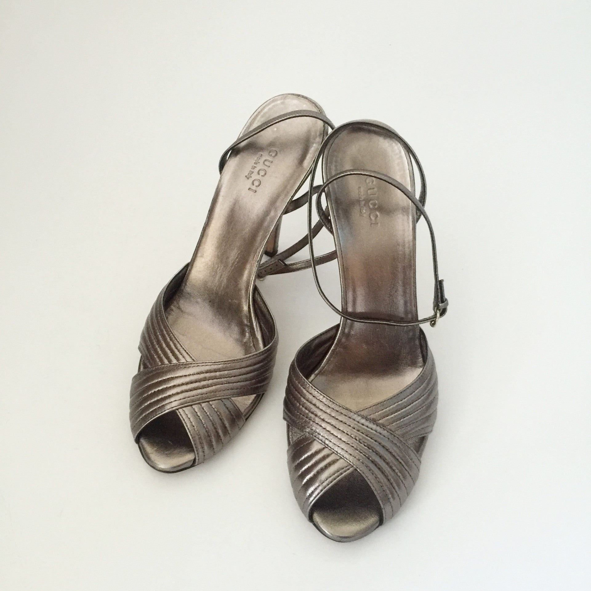 Authentic GUCCI Open Toe Pewter Heels Size 38 (fits like 7.5)