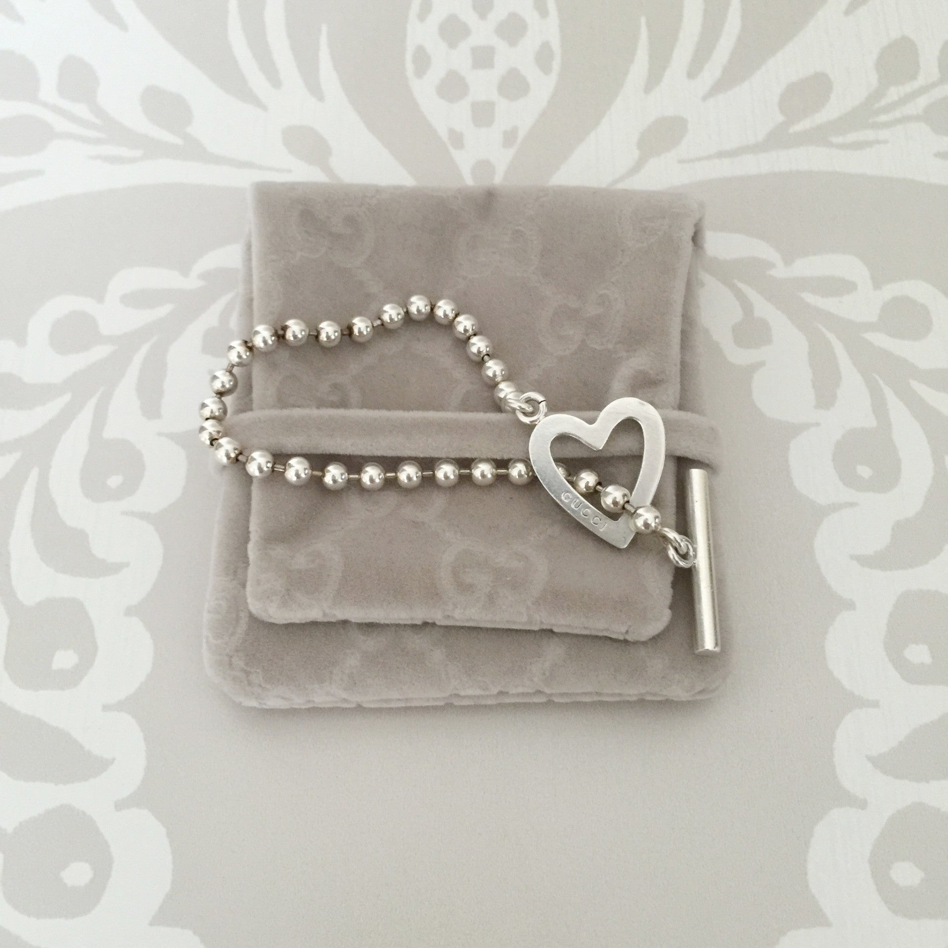 Authentic GUCCI Heart Toggle Bead Bracelet