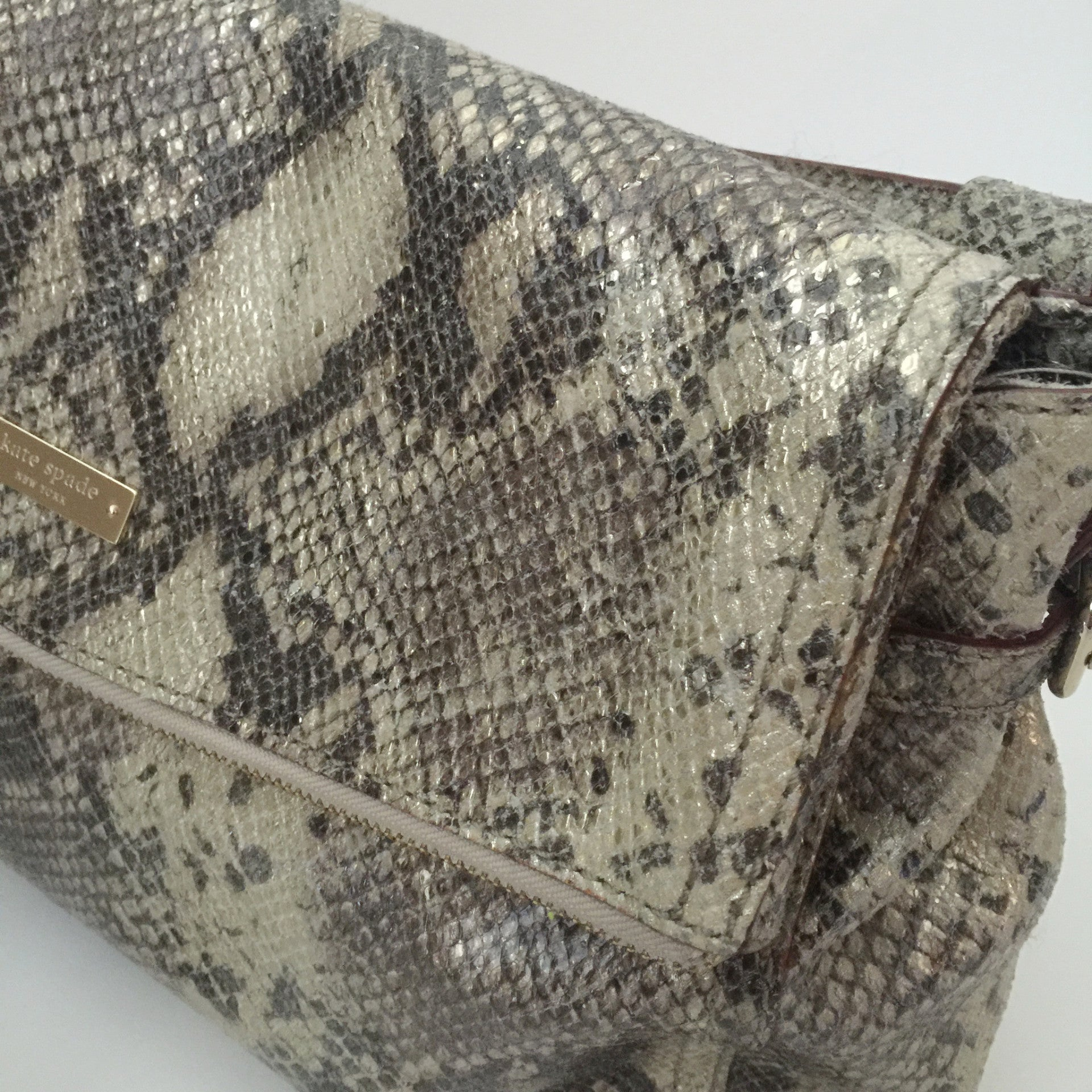 Authentic KATE SPADE Cobble Hill Little Minka Python Leather Shoulder Bag
