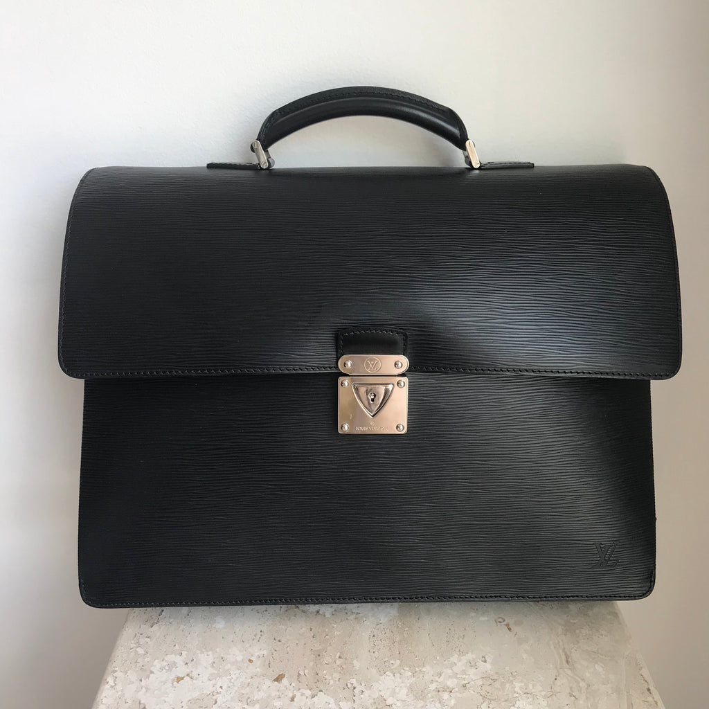 Authentic LOUIS VUITTON Robusto 2 Black Epi Leather Briefcase
