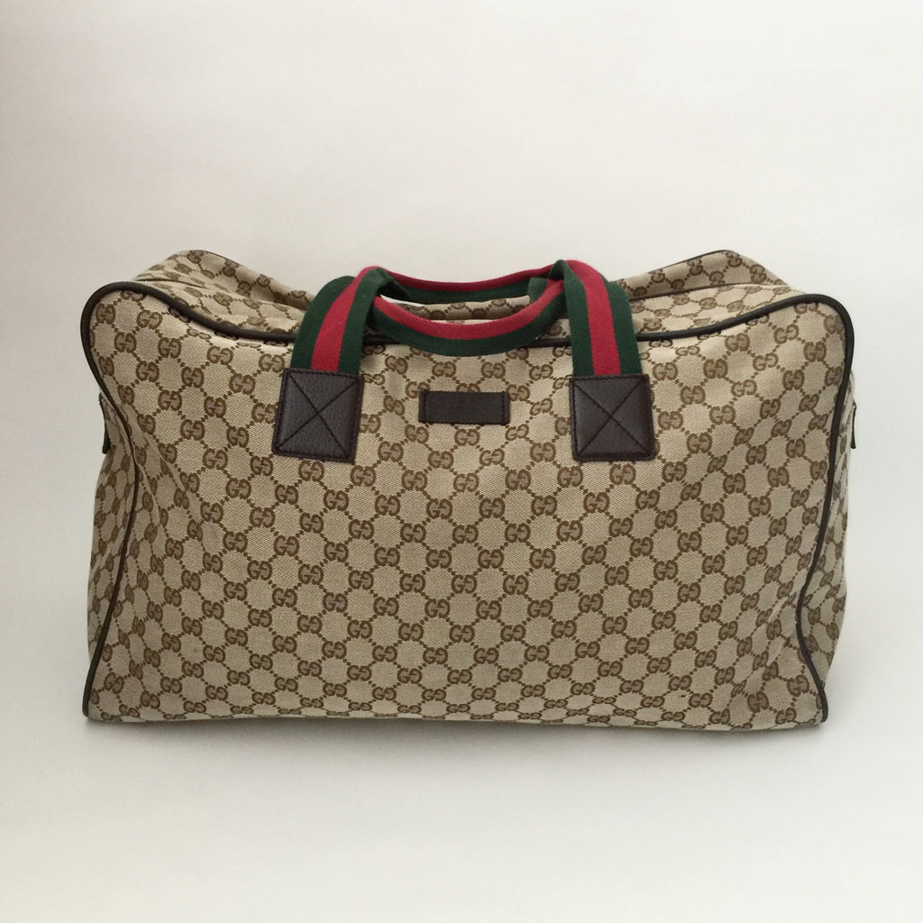 b6f4a39ee58d Authentic GUCCI Brown Canvas Duffle Bag