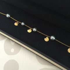 Authentic LINKS OF LONDON 18k Gold & Pearl Bracelet