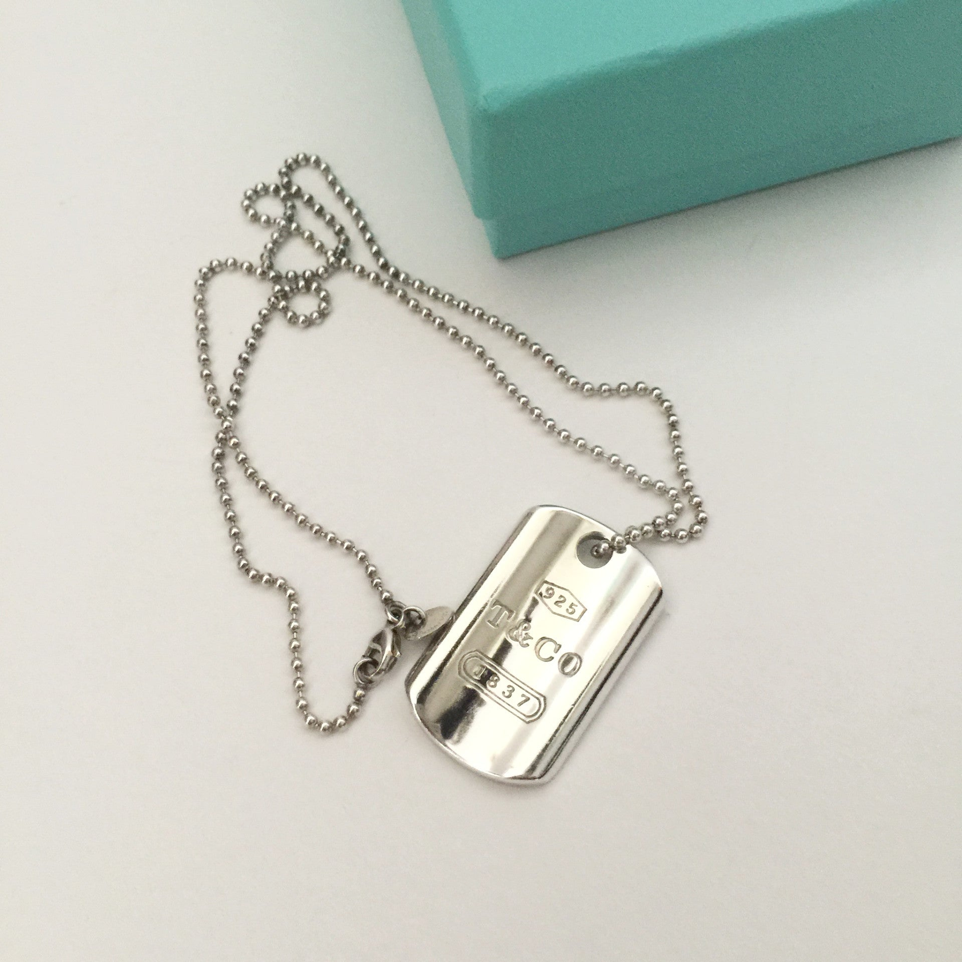 Authentic TIFFANY & CO Dog Tag Necklace 16""