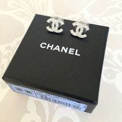 Authentic CHANEL Crystal CC Earrings