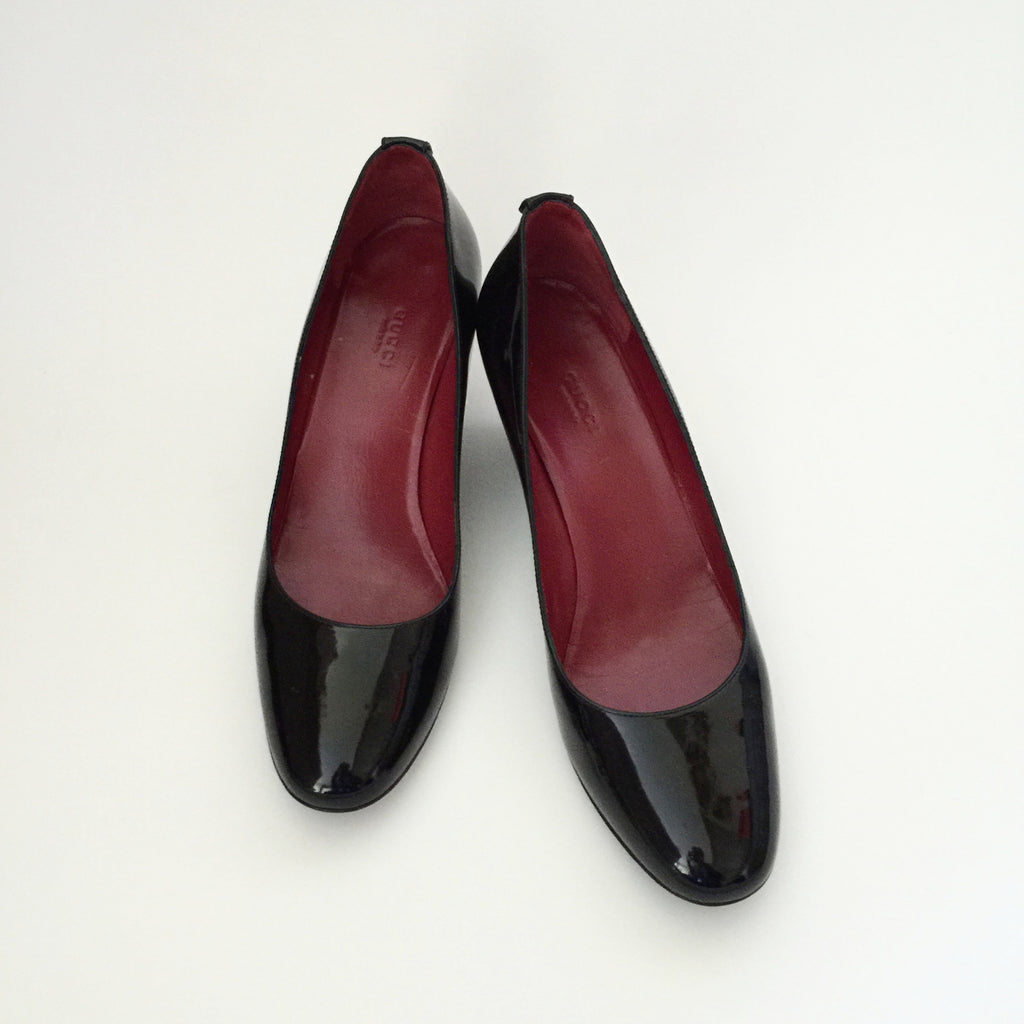 Authentic GUCCI Black Patent Wedges 10
