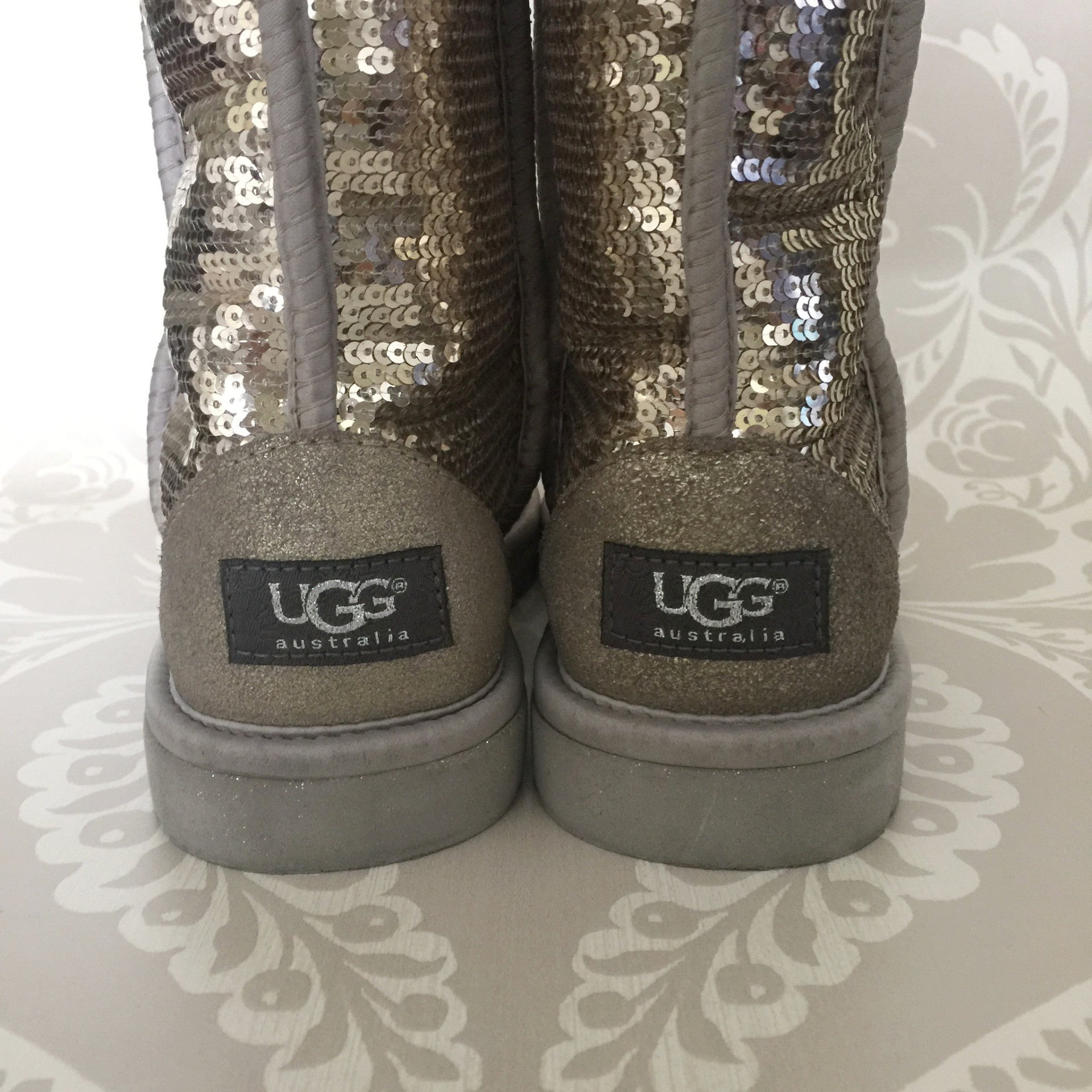 Authentic UGGS Silver Sequin Boots Size 6