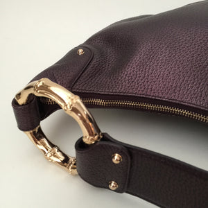 Authentic GUCCI Metallic Purple Leather Gold Bamboo Hobo