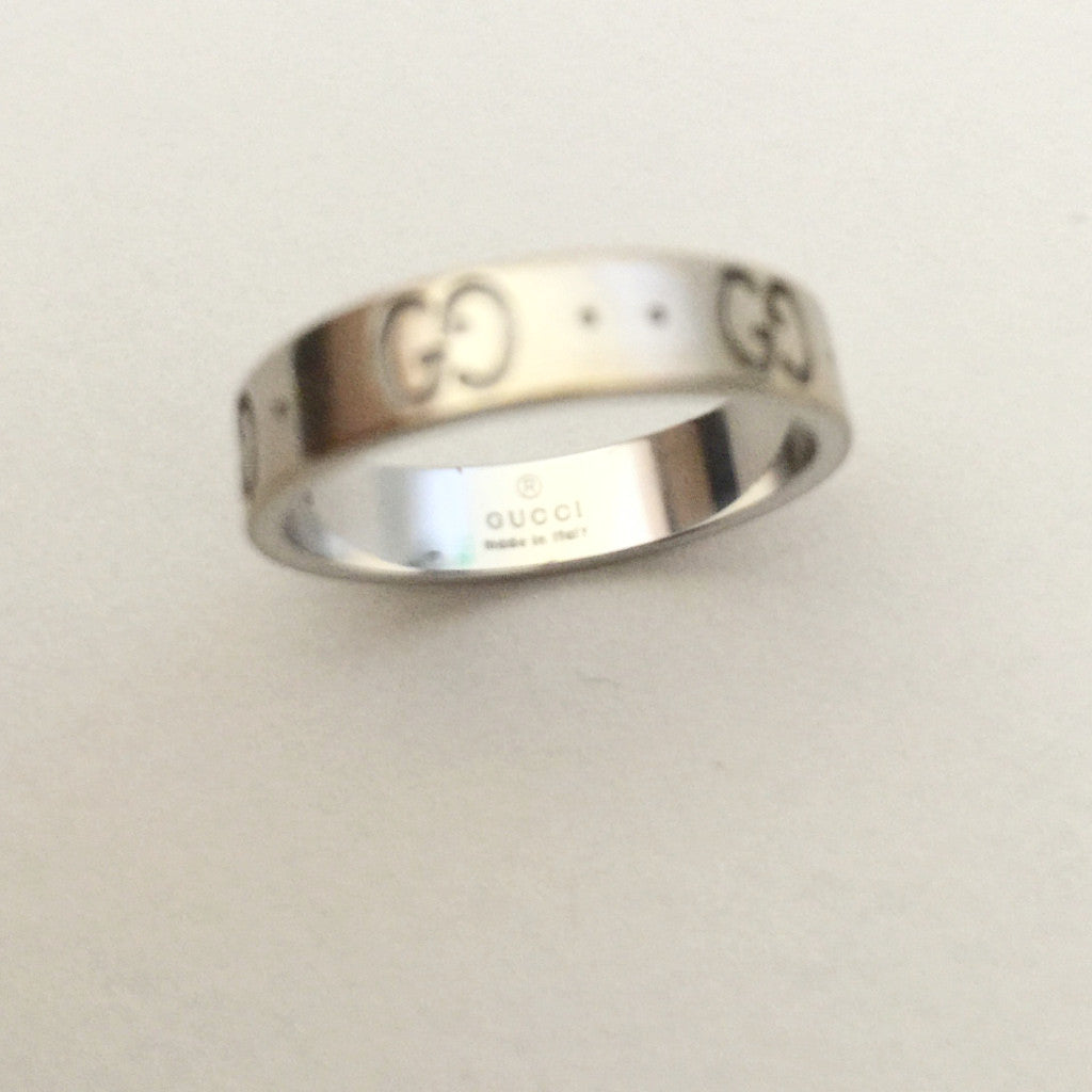 Authentic GUCCI 18k White Gold Icon Ring in Size 5.25