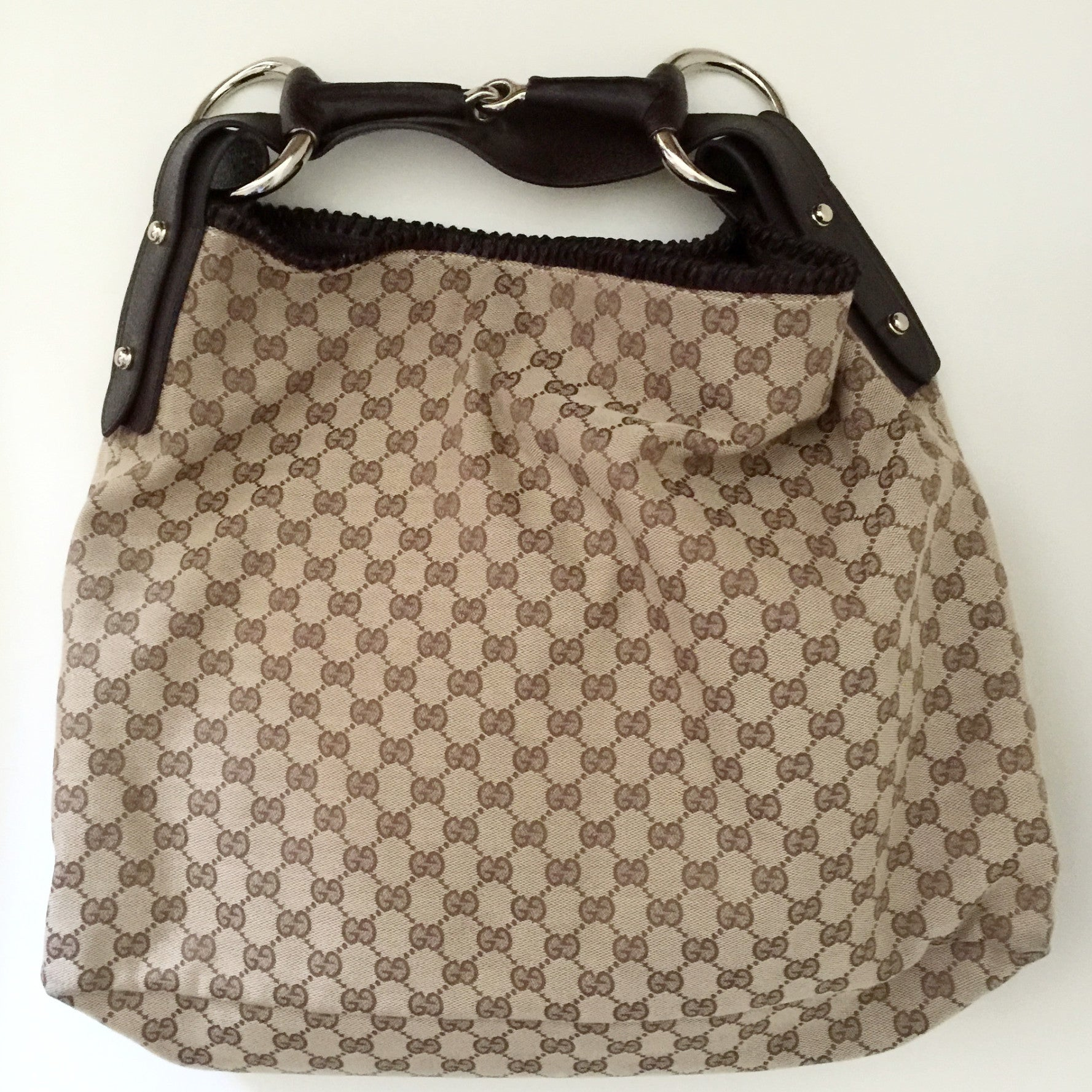 Authentic GUCCI Large Brown Canvas Hobo