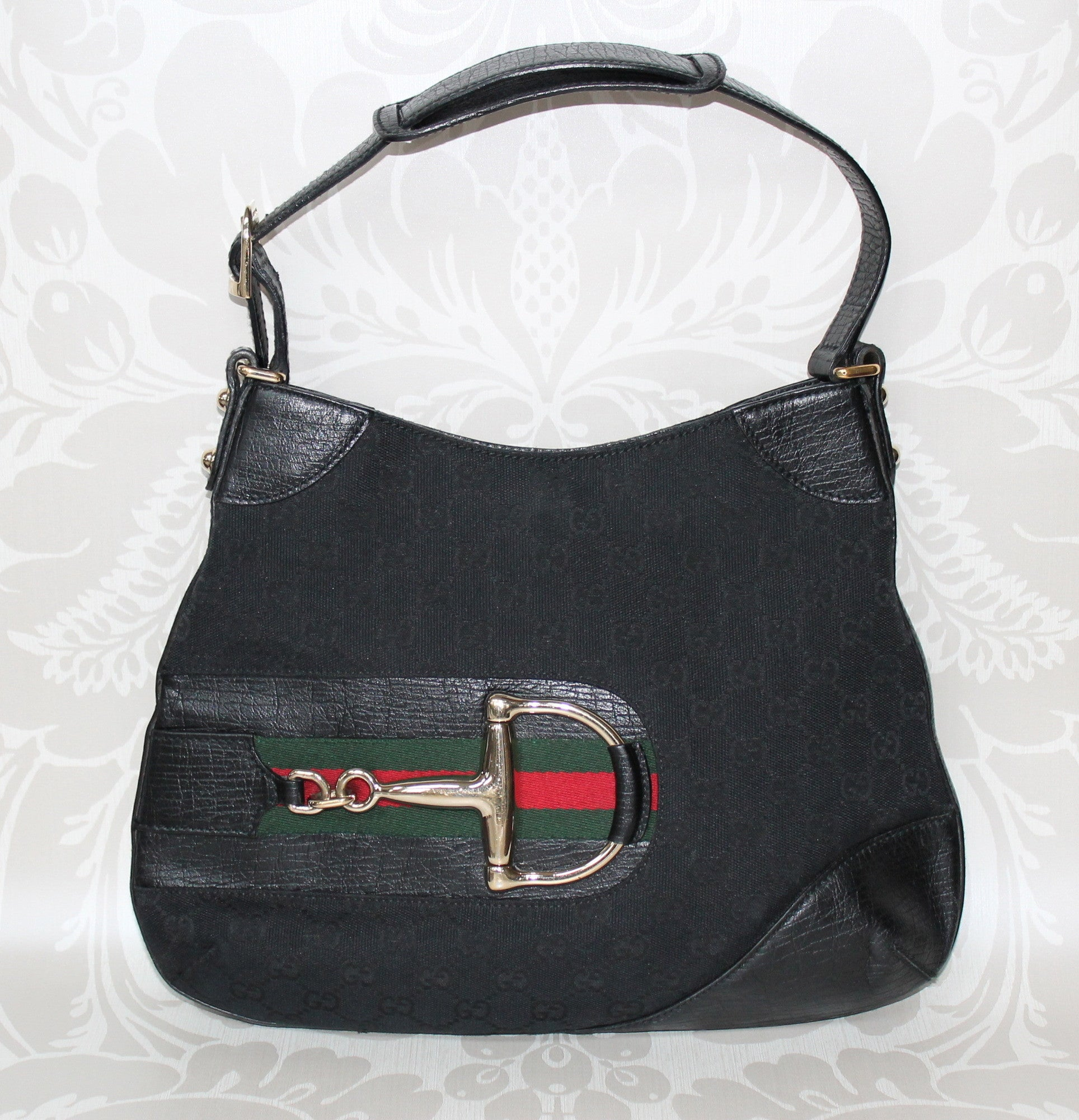 Authentic GUCCI Hasler Black Canvas Handbag