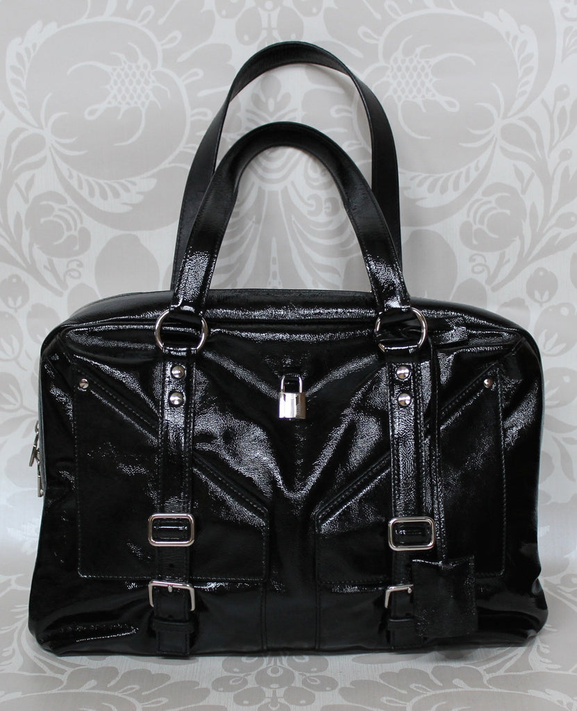 Authentic YVES SAINT LAURENT Black Patent Leather Lover Bag