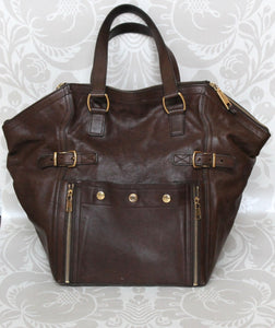 e74d3b16ddb5 Authentic YVES SAINT LAURENT Brown Leather Downtown Tote Bag – Valamode