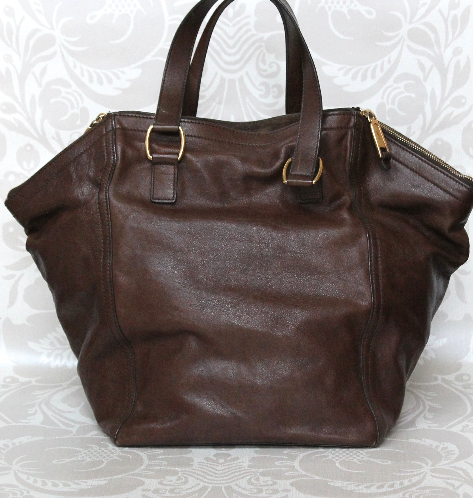 Authentic YVES SAINT LAURENT Brown Leather Downtown Tote Bag