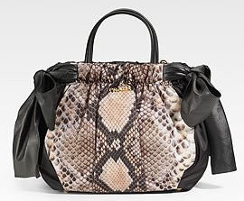 Authentic PRADA St. Pitone Nappa Nylon Python Handbag