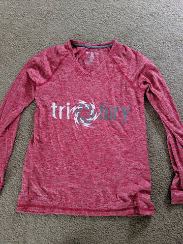 Women's Red Long Sleeve Tech Shirt