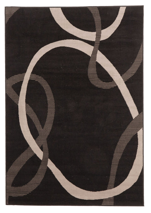 Ruby Abstract Modern Rug Black Grey