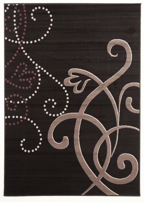 Ruby Art Deco Rug Black Grey Purple