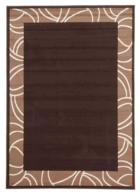 Ruby Modern Border Rug Brown