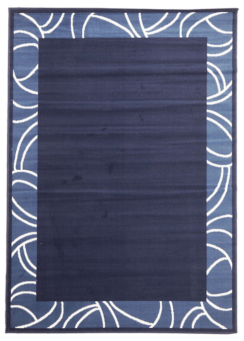Ruby Modern Funky Border Pattern Rug Navy