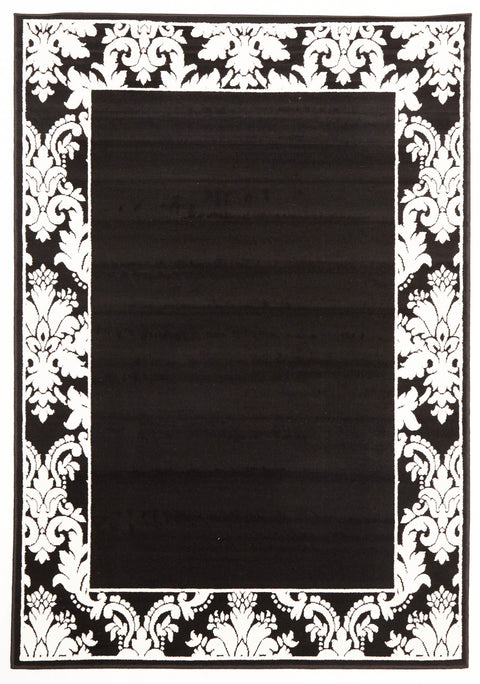 Ruby Damask Border Pattern Rug Black White