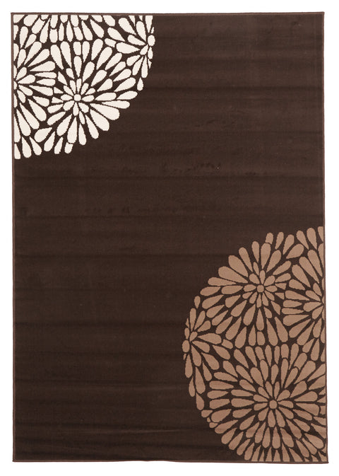 Ruby Modern Burst Pattern Rug Brown Beige