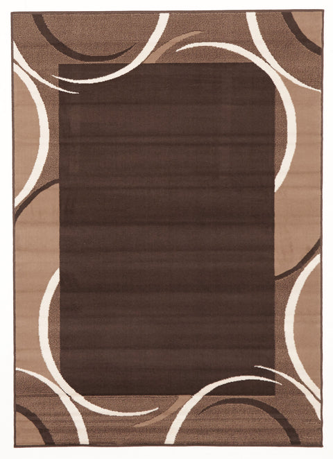 Ruby Crescent Border Pattern Rug Brown Beige