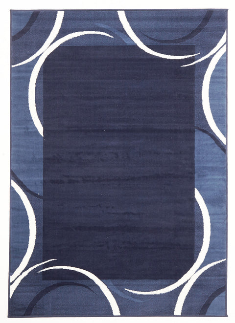 Ruby Crescent Border Pattern Rug Navy Blue