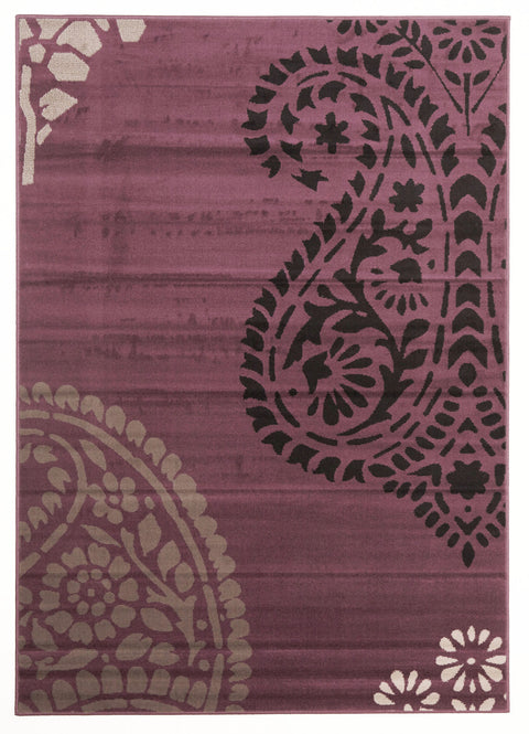 Ruby Funky Paisley Design Rug Purple