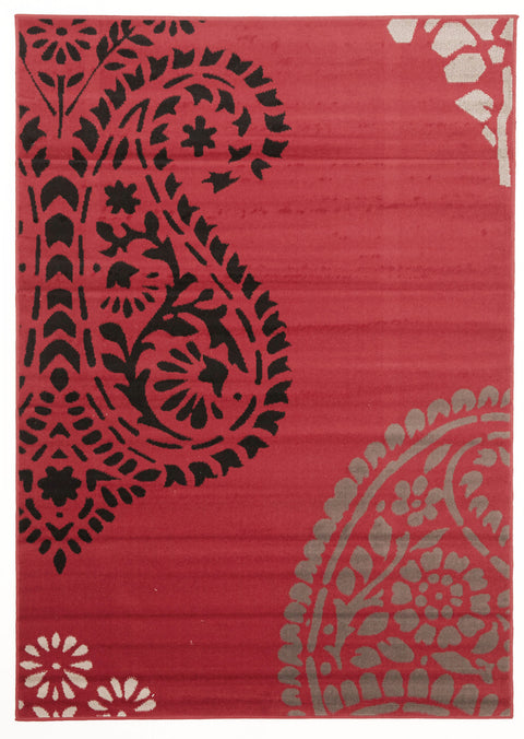 Ruby Funky Paisley Design Rug Red Black