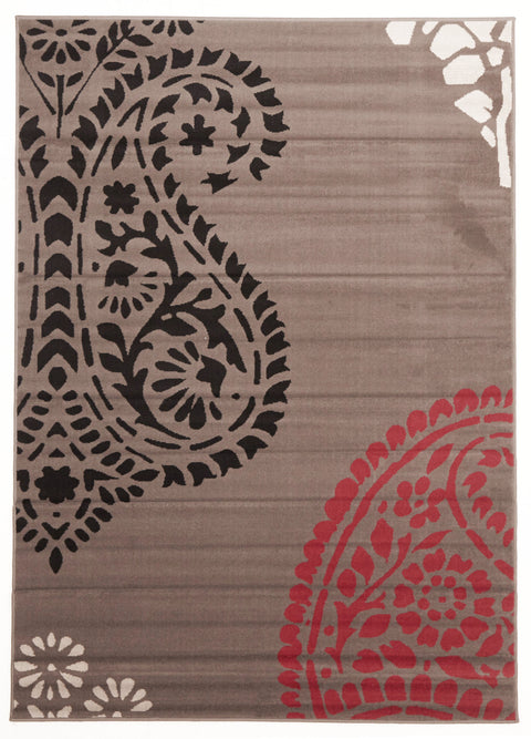 Ruby Funky Paisley Design Rug Taupe