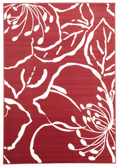 Ruby Modern Flower Outline Rug Red