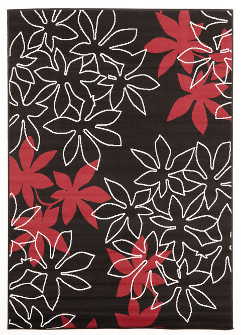 Ruby Maple Leaf Design Rug Black