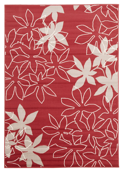 Ruby Maple Leaf Design Rug Red